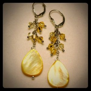 Jewelry - Yellow Shell & Crystal Sterling Silver Earrings